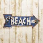 エンボスプレート アロー レトロ調  TO BEACH  アンティーク ヴィンテージ 西海岸風 ブルー系 インテリア  ブルー系 BEACH