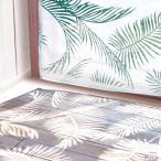 ショッピングリゾート カーテン ハワイアン Lulu 西海岸 シダ柄 アクア リゾート 遮光 オパールレースカーテン