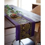 サテン テーブルランナー 森の象 サテン生地 タイ アジアン タペストリー ランナー 細長 北欧 オリエンタル アジアン雑貨 サロン