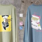 ビッグシルエット 長袖 Tシャツ レトロ プリント ビッグ Tシャツ メンズ ロンT ロンティー 80年代 エモい パステル 韓国系 古着系 ストリート メール便 送料無料