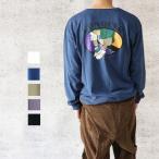 レトロ イラスト プリント 長袖 Tシャツ メンズ ロンT ロンティー バックプリント 韓国系 ストリート メール便 送料無料
