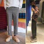 冬 メンズ 千鳥の格 カジュアル ズボン オシャレ 韓国風 長いズボン 2色 ズボン