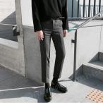 スーツズボン メンズ 無地 カジュアル ダークグレー ゆったり 厚手 冬新作 韓国風 オシャレ