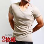 GUNZE(グンゼ)YGベージュインナーtシャツ/2枚組み/vネック2枚セット/透けにくい/ベージュ/肌着/メンズ/YV0115/半袖V首/ベージュ色