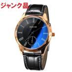 (ジャンク)腕時計 時計 レディース アナログクォーツウォッチ ブラック シンプル カジュアル  ガラス ブルー 反射 _