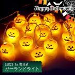ガーランド ライト 室内用 イルミネーション カボチャ 電池式 20球 3m 電球色 LED クリスマス ストレート かぼちゃ パンプキン 電飾 ライト 飾り付け