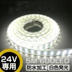 LEDテープライト 5m 防水 24V 600連SMD5050 二列式 白ベース ホワイト 船舶/トラック/屋外照明/led間接照明