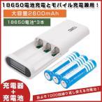 【18650電池*3付】18650 充電器セット モバイル充電器★リチウムイオン 充電器 18650電池x3本 2600mAh プロテクト機能付!