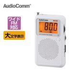 ポケットラジオ AM ワイドFM対応 携帯ポータブルラジオ 電池式 大文字 液晶表示 コンパクト オーム電機 OHM  RAD-P2226S-W