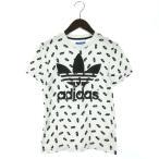 アディダス adidas 半袖 Tシャツ 三つ葉 靴柄 総柄 プリント クルーネック 白 黒 ホワイト ブラック XS レディース【中古】【ベクトル 古着】