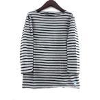 オーチバル ORCIVAL オーシバル Tシャツ ボーダー ボートネック 七分袖 黒 ブラック グレー 3 メンズ【中古】【ベクトル 古着】