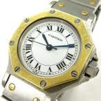 カルティエ Cartier サントスオクタゴン K18コンビ YG 自動巻き 腕時計 シルバー ゴールド ※NS 170115 レディース【中古】【ベクトル 古着】
