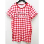 ロデオクラウンズ Rodeo Crowns Tシャツ カットソー ロング 半袖 チェック ロゴ コットン M 赤 白 レディース【中古】【ベクトル 古着】
