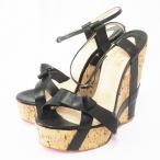 クリスチャンルブタン Christian louboutin サンダル 靴 シューズ ウェッジソール レザー 本革 リボン 35.5 22.5cm相当 黒 ブラック系 ベージュ系 レディース