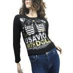 リズリサ LIZ LISA doll ウサビッチ ラメ入プリント 長袖Tシャツ カットソー 黒金銀 I2 レディース【中古】【ベクトル 古着】