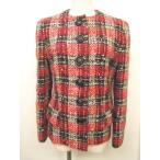 クリスチャンディオール Christian Dior ノーカラージャケット コート ツイード ウール モヘヤ混 チェック 赤 黒 9 IBS レディース【中古】【ベクトル 古着】
