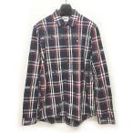 【中古】トミー TOMMY JEANS マドラスチェック シャツ REGULAR FIT 長袖 紺 ネイビー 赤 レッド L 0117 メンズ 【ベクトル 古着】