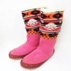【中古】メルシーボークー mercibeaucoup ネイティブ柄 ニット ブーツ 靴 ピンク レディース 【ベクトル 古着】