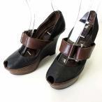 【中古】マルニ MARNI パンプス ウエッジパンプス アンクルベルト 本革 レザー オープントゥ 37 黒 ブラック 茶色 ブラウン 23.5cm くつ 靴 シューズ レディース