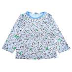 未使用品 ファミリア Tシャツ 長袖 トップス 総柄 80 キッズ 男の子 ベビー 子供服 赤ちゃん 肌着 下着 ロンT 青 ブルー 肩スナップ コットン 日本製