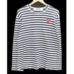 プレイコムデギャルソン PLAY COMME des GARCONS Tシャツ 長袖 ボーダー カットソー AD2006 ワッペン コットン M 白 ホワイト 紺【中古】【ベクトル 古着】