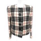 クリスチャンディオール Christian Dior ノーカラージャケット チェック 黒 白 赤 /YH レディース【中古】【ベクトル 古着】
