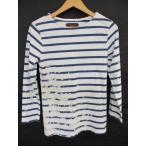 ロンハーマン ヴィンテージ  R.H.vintage Tシャツ S 白×青 綿100% 長袖 ラウンドネック ボーダー ユーズド加工 トップス メンズ【中古】【ベクトル 古着】