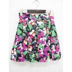 デイシー deicy スカート 総花柄 フレア タック 黒 ピンク 緑系 0 OA178 * レディース【中古】【ベクトル 古着】