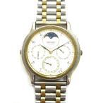 セイコー SEIKO ムーンフェイズ 腕時計 クォーツ デイデイト ブレスレットタイプ 7F38 純正ブレスレット コンビ シルバー ゴールド 金 銀 メンズ