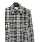 イサムカタヤマバックラッシュ BACKLASH レザーシャツ 長袖 チェック柄 ピッグレザー 黒×白 1 メンズ【中古】【ベクトル 古着】