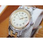 エルメス HERMES クリッパー クォーツ 時計 腕時計 アイボリー文字盤 SS×GP レディース...