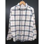 GU ジーユー シャツ ネルシャツ 長袖 コットン チェック 白系 S 721-E レディース 【ベクトル 古着】【中古】