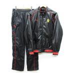 プーマ PUMA × フェラーリ Ferrari コラボ ウインドブレーカー セットアップ 上下セット ロゴ プリント ワッペン パイピング 黒 M S ◆NK-8038 ◆02 メンズ