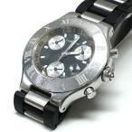 カルティエ Cartier 2424 マスト21 クロノスカフ クオーツ 腕時計 ウォッチ ブラック文字盤/シルバー 黒 銀 純正ブレス SSAW メンズ【中古】【ベクトル 古着】