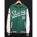 ステューシー STUSSY スタジャン ナイロンジャケット ロゴ 切り替え フード 緑 白 グリーン ホワイト M