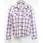ユニクロ UNIQLO シャツ ネルシャツ 長袖 ディズニーコラボ コットン 100 チェック 紫 S レディース【中古】【ベクトル 古着】