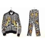 ジェレミースコット Jeremy Scott アディダス adidas トラックジャケット ジャージーパンツ セットアップ 総柄 天使柄 幾何学柄 ホワイト ブラック 白 黒 メンズ