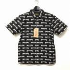 未使用品 ファインダーズキーパーズ Finders keepers 17SS ワークシャツ TOTAL HANDLE WORK SHORT S/S 総柄 半袖 コットン ブラック 黒 L メンズ