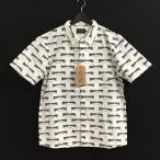 未使用品 ファインダーズキーパーズ Finders keepers 17SS ワークシャツ TOTAL HANDLE WORK SHORT S/S 総柄 半袖 コットン ホワイト 白 L メンズ