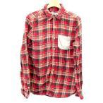 シンプリシテ プリュス SIMPLICITE PLUS シャツ チェック 胸ポケット 長袖 38 赤 レディース 【ベクトル 古着】【中古】