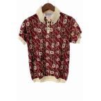 アバハウス ABAHOUSE シャツ ニット ボタンダウン 花柄 半袖 2 赤 レディース【中古】【ベクトル 古着】