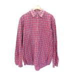 ユニクロ UNIQLO ネル シャツ 長袖 チェック調 胸ポケット 赤 レッド L メンズ【中古】【ベクトル 古着】