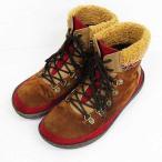 【中古】チチカカ titicaca HAPPY TRADE ショートブーツ ワークブーツ 靴 ボア スエード調 レザー 茶系 L レディース 【ベクトル 古着】