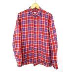 コムデギャルソンシャツ COMME des GARCONS SHIRT シャツ 長袖 リネン チェック 赤 レッド 青 M メンズ【中古】【ベクトル 古着】