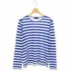 【中古】トリココムデギャルソン tricot COMME des GARCONS AD2009 2010SS Tシャツ カットソー ロンT 長袖 S 青 白 ブルー ホワイト TE-T019 【ベクトル 古着】