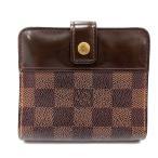 【中古】ルイヴィトン LOUIS VUITTON ダミエ コンパクトジップ 財布 二つ折り 切替 茶色 ブラウン N61668 /SR20 ■OH レディース 【ベクトル 古着】