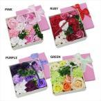 シャボンフラワー ソープフラワー ホワイトデー リボンローズBOX 薔薇 ポピー 15×15×7cm ギフト お花 インテリア雑貨 結婚祝い