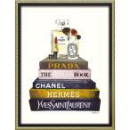 インテリアパネル ブランド キャンバスアート アマンダ グリーンウッド ブックスタック メイクアップ(Mサイズ) ユーパワー 43.5x56.5cm 額付き ポスター
