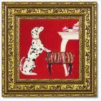動物画 アートフレーム いぬ雑貨 ドミンゲス ブチ S ユーパワー 27×27cm 可愛い 額付きポスター インテリア
