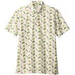 ボンマックス BONMAX アロハプリント ポロシャツ フラミンゴ柄 FB4549U-1 ベージュ おしゃれ 夏 ボタンダウン